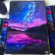 Galaxy Painting By _ Galaxie-Malerei von _ Art Galaxie, Galaxy Art, Wow Art, Cool Drawings, Galaxy Drawings, Drawing Sketches, Drawing Ideas, Painting Inspiration, Style Inspiration