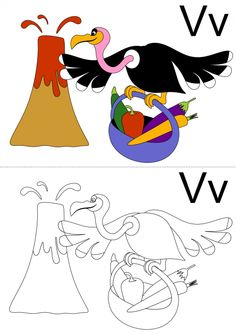 V is for volcano, vulture, and vegetables! This coloring page will get your child practicing their 'v' sound. See if they can create a picture that matches the original. Does your child know any other words that start with 'v'?