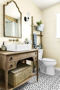 Chances are your tub, toilet, and sink are white porcelain, so skip the single-color tile in favor of something with a little more character.