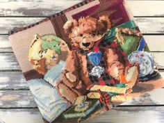 """Hand embroidered 14"""" laptop sleeve, upcycled vintage needlepoint, library bear laptop bag by KindredClassics on Etsy Computer Sleeve, Computer Bags, Upcycled Vintage, Etsy Vintage, Tapestry Kits, Photo Canvas, Laptop Bag, Beautiful Hands, Hand Stitching"""