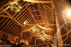 The Hall, Milden, Suffolk.  Wedding barn party with fairy light ceiling canopy. www.weddingcreative.co.uk
