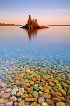 The Lake Superior drainage basin in Canada, known for its clear, cold water and agate beaches.