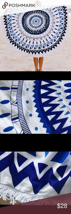 """XL circle round mandala style beach towel 5ft Pretty beach towel roundie that stands out from the crowd in blue and white. 59"""" diameter plus fringe. Large enough for two people. Lightweight microfiber absorbent towel. Perfect for instagram! Other"""