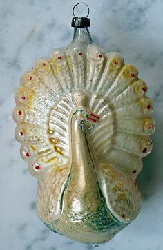 Peacock Glass Ornament from around  1920.Germany