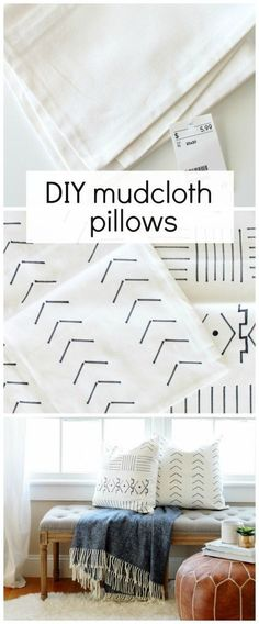 DIY Mudcloth Pillows Using A Paint Swatch - City Farmhouse Diy Throw Pillows, Decorative Pillows, Paint Swatches, Boho Diy, Diy Woodworking, Home Projects, Diy Furniture, Bedroom Furniture, Furniture Design