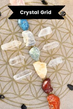 Learn how to build crystal grids for goal amplification. Anchor your intentions through a crystal grid for quicker manifestation. Get inspired with these beautiful crystal grids. Crystal Grid, Crystals And Gemstones, Anchor, Goal, Earth, Inspired, Beautiful, Flower Mandala, Flowers
