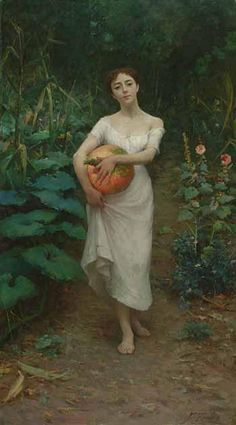 Fausto Zonaro (Italian painter) 1854 - 1929 Young Girl Carrying a Pumpkin, 1889 oil on canvas Antoine Laurent, Kunst Online, Cottage Art, Portraits, Italian Painters, Wow Art, Italian Art, Vernon, Art Google