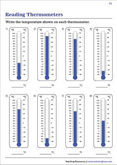 Explore our reading thermometers worksheets to hone your skills in reading a thermometer and measuring temperature in Celsius and Fahrenheit degrees. Writing Sentences Worksheets, Spelling Worksheets, Reading Worksheets, Grade Spelling, 3rd Grade Math, English Worksheets Pdf, Community Helpers Worksheets, Integers Worksheet, Learn Faster