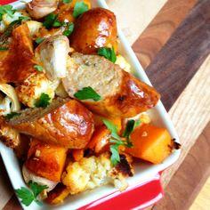 Garlic Roasted Italian Sausage with Winter Vegetables || The Lemon Bowl