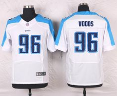 White Al Woods Men's Elite Tennessee Titans #96 Road NFL Jersey
