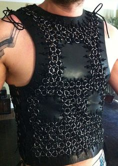 """Leather chainmail Viking armor- """"Ragnar"""" hand-woven leather strap with heavy gauge stainless steel rings. Order in your size!"""