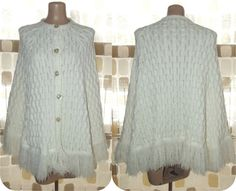 Vintage 70s FRINGED White Knit Swing Sweater by IntrigueU4Ever, $35.99