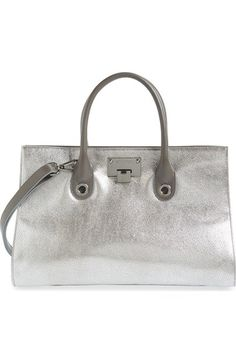 JIMMY CHOO 'Riley' Metallic Goatskin Leather Tote. #jimmychoo #bags #tote #lining #metallic #shoulder bags #suede #hand bags #