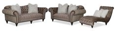 Pop the Champagne. Fanciful with opulent details, the Brittney collection turns vintage charm into trendsetting appeal. Lovers of whimsical tufting and lavish hand-applied nailhead trim will be drawn to the character this set exudes. Take a seat and enjoy the soft, champagne-colored upholstery and beautiful detailing, from scrolled arms to turned, carved wood legs. Perfect for traditional décor schemes, this Victorian-inspired collection embraces today's furniture trends with faux fur toss…
