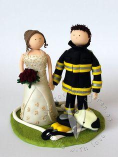 Feuerwehr Brautpaar  von www.tortenfiguren.at - Firebrigade Weddingcake Topper