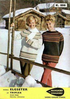 The Elgseter sweater from Sandnes pattern Norwegian Knitting, Vintage Patterns, Bunt, Knitwear, Free Pattern, Knitting Patterns, Knit Crochet, Sweaters, Cardigans