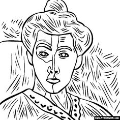 100% free coloring page of the Henri Matisse painting Madame Matisse Green Stripe.  Color in the painting and print it out, save it to your library or email it to your friends.