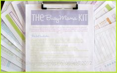 Love this!  Busy Mama Kit - BRIGHTS - 19 documents. $25.00 via @Clean Mama