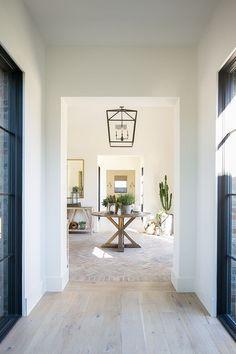 Modern Farmhouse of Interior Designer Jennifer Ferrandi:neutral living room decor, neutral foyer decor