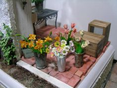Miniature patio and flowers