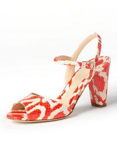 LARIO - leather python pattern metal logo sandals