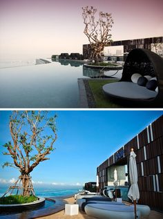 10 Incredible Hotel Rooftops From Around The World // The rooftop pool and bar of the Hilton Hotel in Pattaya, Thailand has fantastic views of the water below.