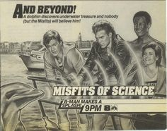 """TV Guide ad for the Misfits of Science episode """"Sonar… and Yet So Far,"""" which aired on NBC on November 15, 1985. That's Courteney Cox on the right, by the way."""