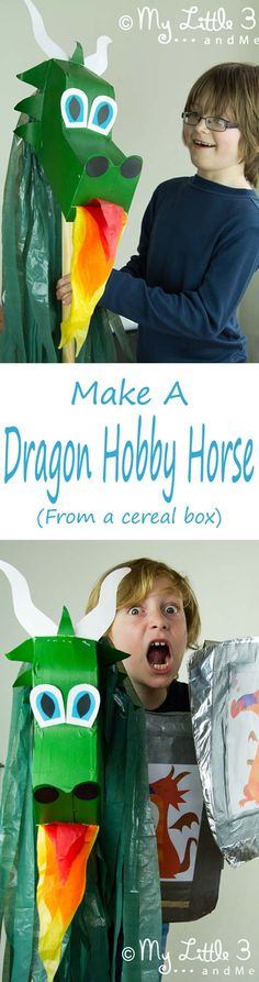 Make a Dragon Hobby Horse from an old cereal box and plastic bag. A great recycled craft for imaginative play, St George's Day, World Book Day and dressing up parties.