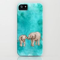 iPhone 5s & iPhone 5 Cases featuring Baby Elephant Love - sepia on watercolor teal by Perrin Le Feuvre