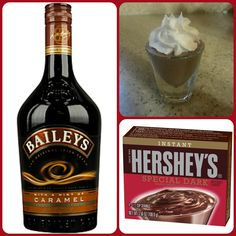 dark chocolate instant pudding ¾ Cup Milk Cup Caramel Baileys US tub Cool Whip. Pudding Shot Recipes, Jello Pudding Shots, Jello Shot Recipes, Alcohol Drink Recipes, Easy Drink Recipes, Jello Shots, Pudding Cup, Bar Drinks, Cocktail Drinks