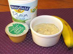 Pudin instantáneo de banana  1 banana orgánica, majada  3 cucharadas de salsa de manzana orgánica, sin endulzar  1 cucharada de yogurt orgánico sin sabor  Mezcle todos los ingredientes y listo.