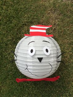 Cat in the Hat Inspired White Paper Lantern Decoration