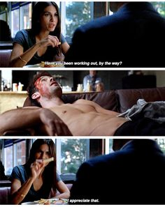 """""""Have you been working out, by the way? I appreciate that"""" - Elektra and Matt #Daredevil Don't we all?"""