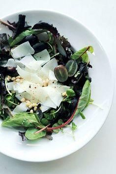 Pecorino, Black Grapes, and Mixed Greens Salad Recipe -- a healthy and light side dish to add to your Christmas dinner recipe repertoire.