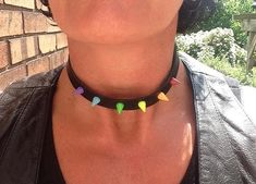 Vegan Leather Rainbow Spiked Choker with 10mm by ToxifyDesigns