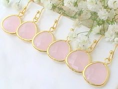 Set Of 7 10% Off Pink Bridesmaid Earrings Blush by Crystalshadow