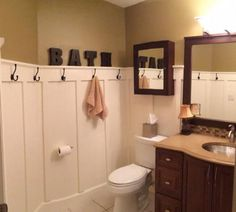 Guest Bathroom - Board and Batten Bathroom Design Inspiration, Desk Plans, Closet Shelves, Vintage Bathrooms, Wall Organization, Do It Yourself Home, Home Renovation, Home Projects, Week Diet