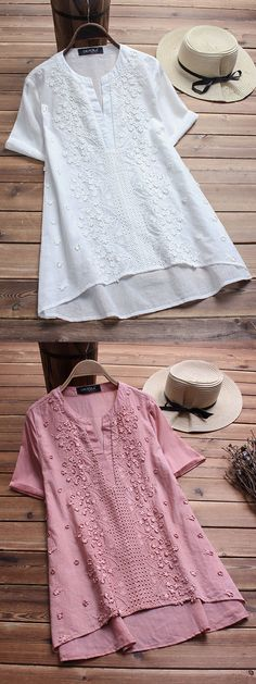 Gracila brand from NEWCHIC. Vintage Embroidered Short Sleeve V-neck Shirts. Cotton comfy material. #short #summer #shirts