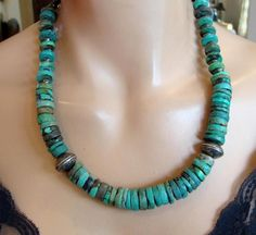 1880's NAVAJO LG HAND CARVED TURQUOISE  STERLING MERCURY DIME BEAD NECKLACE 91gr