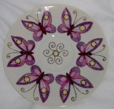 Butterfly Plate by Jean Colbear - one of a pair that I made as a gift for a friend.