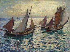 """''Mackerel Fishing Boats,'' Richard Hayley Lever, oil on canvas, 18 x 24"""", private collection."""
