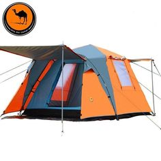 Large High Quality Automatic Opening Waterproof 2-Room w/Sun Awning Camping Tent 2 Colors-Loluxe