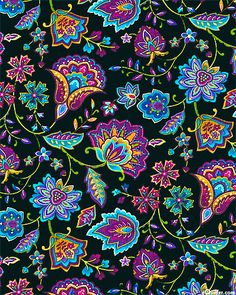 Miraval - Folk Art Paisley Flowers - Quilt fabrics - this would be fun to embellish with beads and embroidery