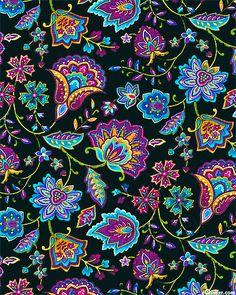 Miraval - Folk Art Paisley Flowers - Quilt fabrics from www.eQuilter.com