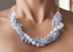 Blue Lace Agate and Swarovski Crystals Multi by ViDaJewelryDesigns, $86.00