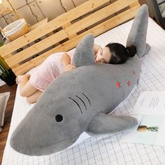 Kawaii Pastel Jumbo Shark Plush (90cm) - Special Edition - KawaiiTherapy Kawaii Bunny, Kawaii Plush, Shark Plush, Plush Animals, Cute Gifts, Dinosaur Stuffed Animal, Corgi, Pastel, Toys