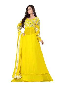 Kiteshop Yellow Lehenga Style Anarkali Suits Online India. Loading zoom