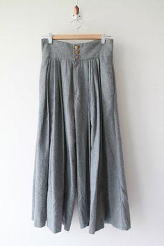 Vintage Grey Wool Wide Leg Gaucho Pants / Stormy by MollysVarious
