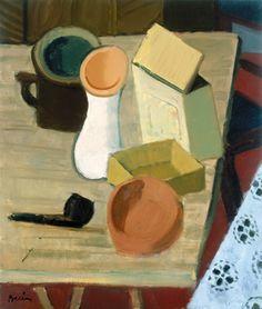Berény Róbert (1887-1953)  Pipás csendélet (Bögrés csendélet), 1930  Olaj, vászon, 88x74 cm