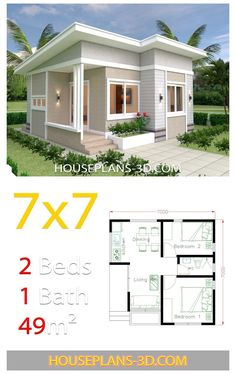 Unique Small House Plans, Modern Small House Design, Simple House Design, Small House Layout, House Layout Plans, House Layouts, 2 Bedroom House Design, Bungalow House Design, 2 Bedroom House Plans